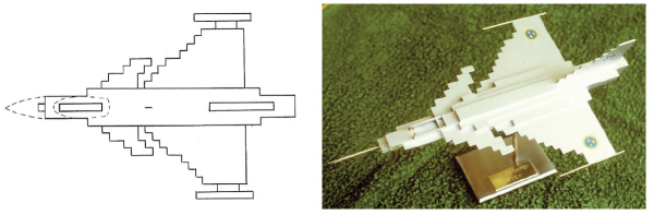 Figure 5. Top view of early FDEM drawing of Gripen and a 3D plastic model visualization.