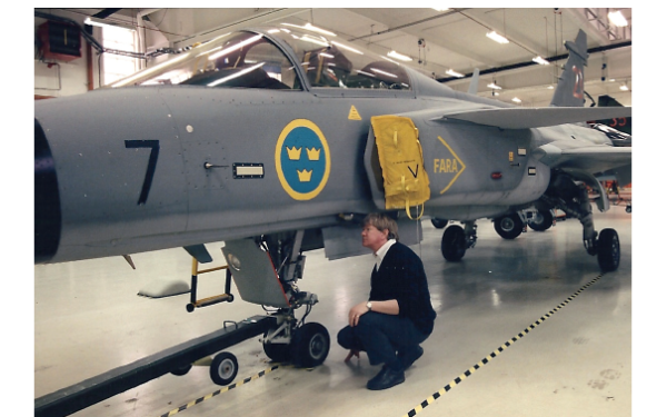 Figure 7. The author at an inspection of the central equipment bay of the JAS39 Gripen. (photo Pia Ericson FMV T&E)